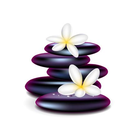 massage symbol: Spa stones isolated on white photo-realistic illustration Illustration