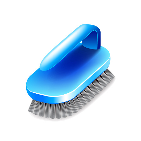 tidy: Cleaning brush isolated on white photo-realistic illustration