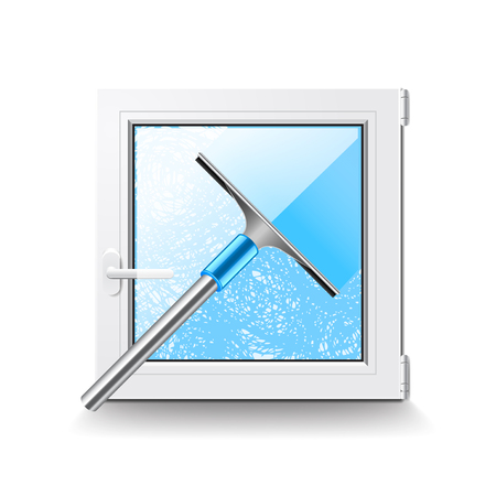 window cleaning: Window cleaning isolated on white photo-realistic illustration