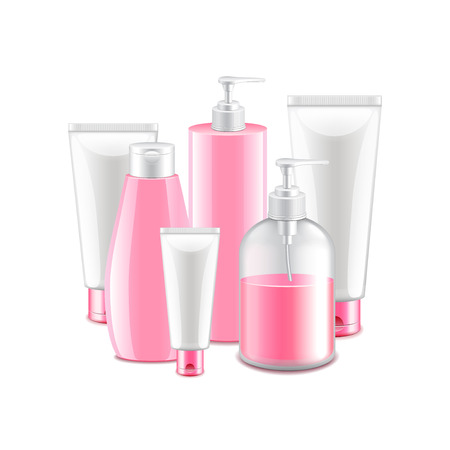 body wrap: Pink cosmetic collection isolated on white photo-realistic illustration