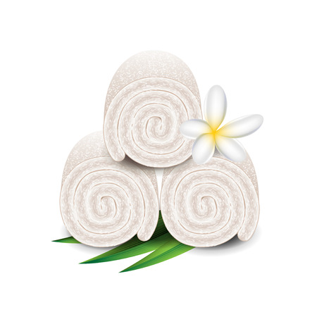 towels: Spa towels isolated on white photo-realistic illustration