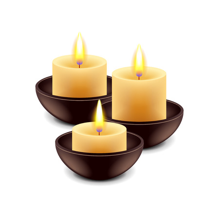 spa still life: Spa candles isolated on white photo-realistic illustration