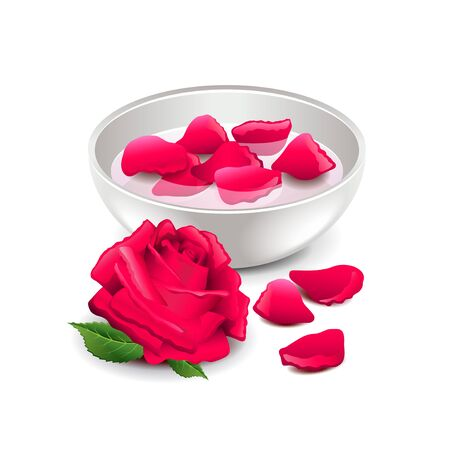 dry flowers: Spa rose water isolated on white photo-realistic illustration