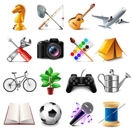 jugando ajedrez: Iconos de la manía foto detallada conjunto realista Vectores