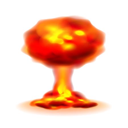 nuke: Nuclear explosion isolated on white photo-realistic illustration