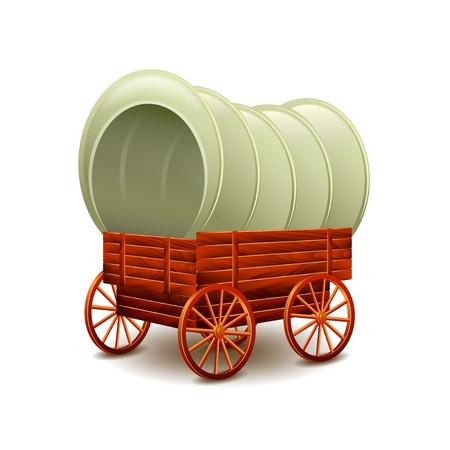 Old wagon isolated on white photo-realistic illustration