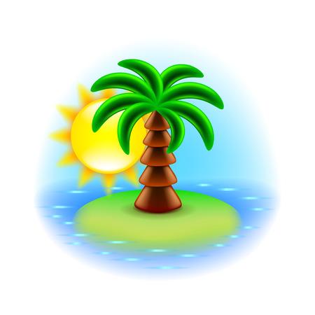 paradise beach: Sunny island icon isolated on white illustration Illustration