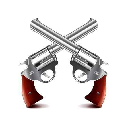 dueling pistol: Crossed guns isolated on white photo-realistic illustration Illustration