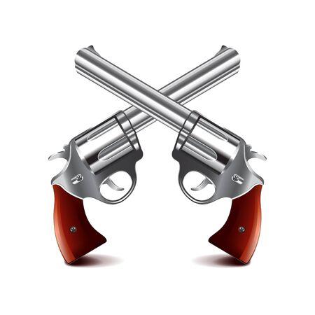 dueling: Crossed guns isolated on white photo-realistic illustration Illustration