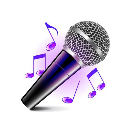 music instruments: Karaoke icon isolated on white photo-realistic illustration