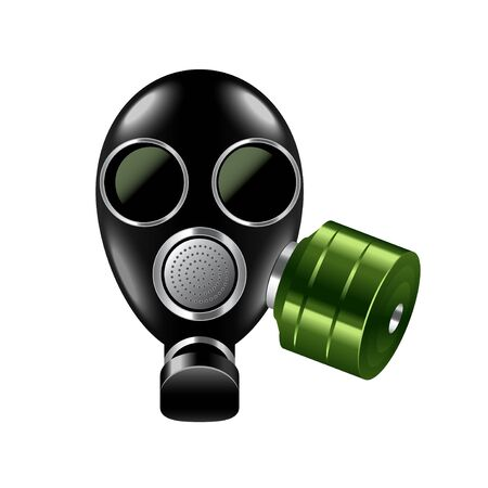 nuclear fear: Gas mask isolated on white photo-realistic illustration