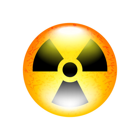 polution: Radioactive symbol isolated on white illustration