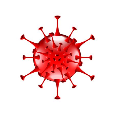 Red bacteria isolated on white photo-realistic vector illustration