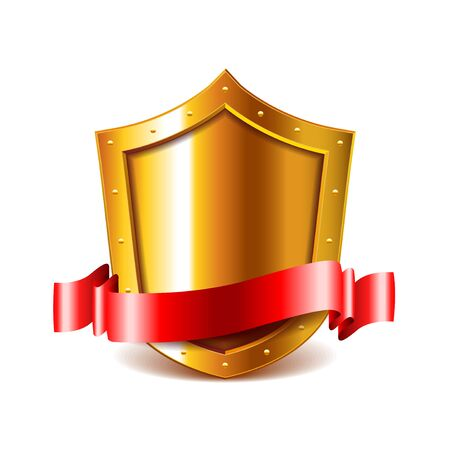 golden shield: Golden shield with red ribbon isolated on white vector illustration