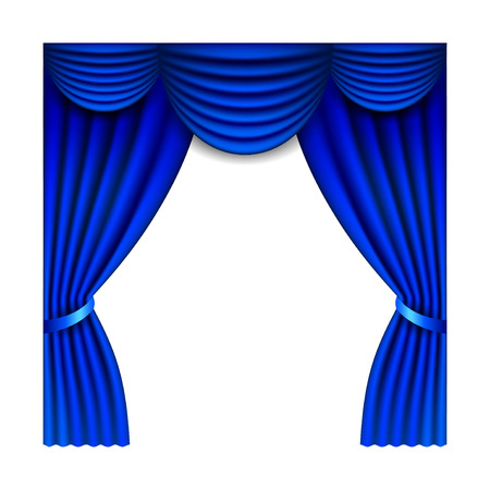 playhouse: Blue window curtains isolated on white photo-realistic vector illustration