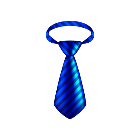 blue tie: Blue striped tie isolated on white photo-realistic vector illustration