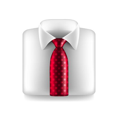 red tie: White shirt with red tie isolated photo-realistic vector illustration