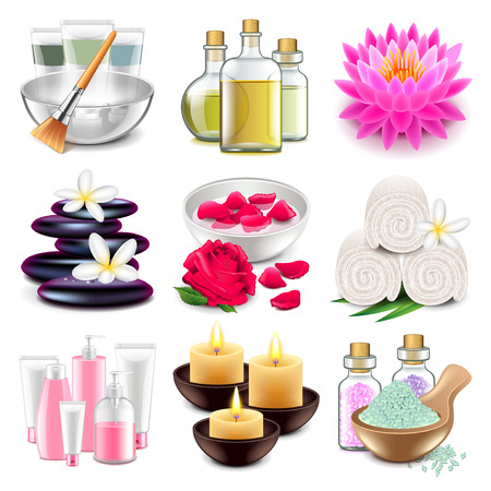 Spa icons detailed photo realistic vector set Vettoriali