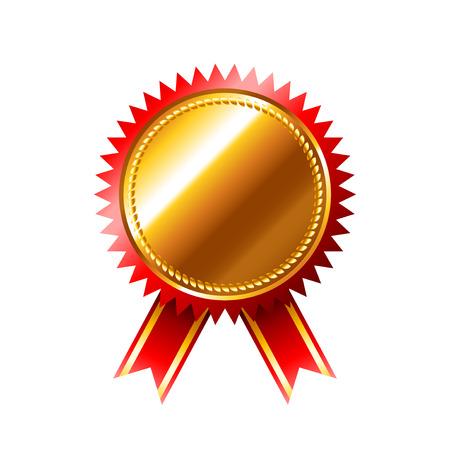 internet mark: Golden medal quality mark isolated on white photo-realistic vector illustration