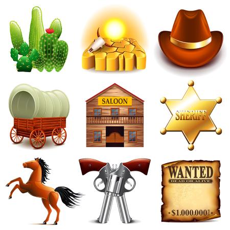 Iconos del oeste salvajes foto detallada conjunto realista Ilustración de vector