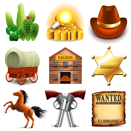 old town: Wild west icons detailed photo realistic set