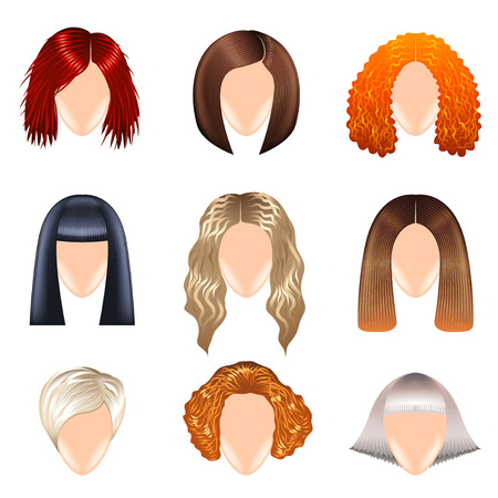 photo realistic: Woman hairstyle icons detailed photo realistic set