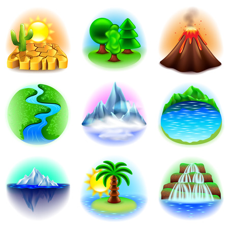 Nature icons detailed photo realistic set