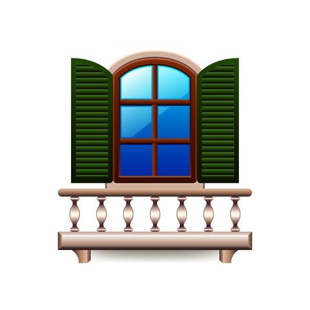 on the balcony: Window with balcony isolated on white photo-realistic illustration Illustration