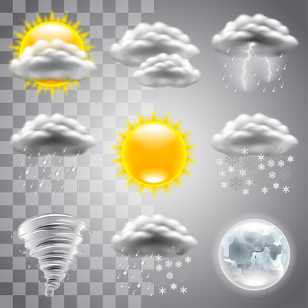 Weather icons detailed photo realistic set Stock Illustratie