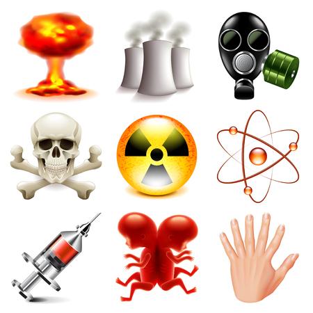 radioactive radiation: Danger and radioactive icons detailed photo realistic set Illustration