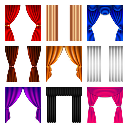 curtains: Window curtain icons detailed photo realistic vector set Illustration