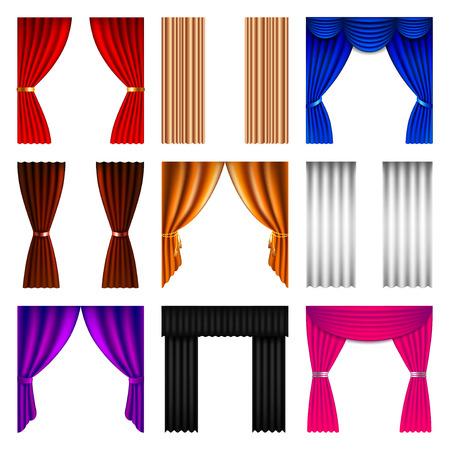 window curtain: Window curtain icons detailed photo realistic vector set Illustration