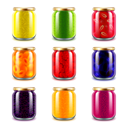 Jam jars icons detailed photo realistic vector set Illustration
