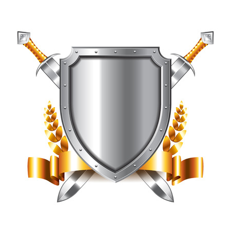 security icon: Coat of arms with swords isolated on white photo-realistic vector illustration