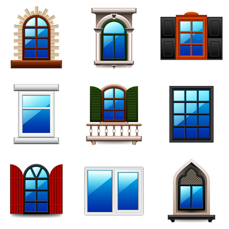 open window: Windows icons detailed photo realistic vector set
