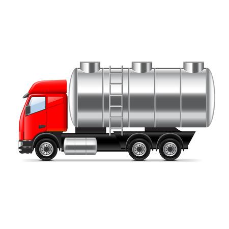 camión cisterna: Carro del tanque aislado en blanco ilustración vectorial foto-realista Vectores