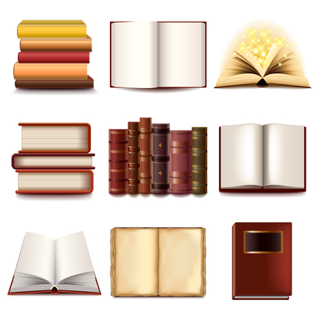 document: Books icons detailed photo realistic vector set
