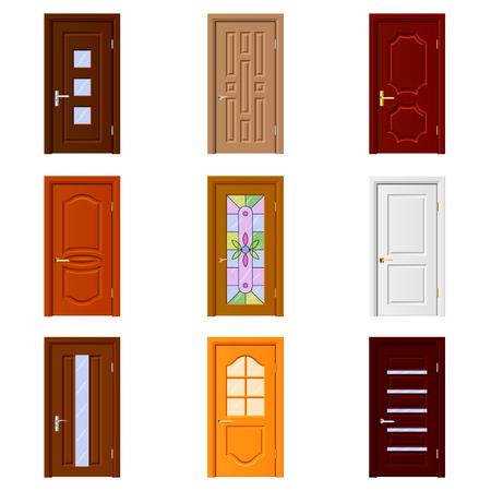 puertas de la habitación foto de los iconos detallada vector conjunto realista Ilustración de vector
