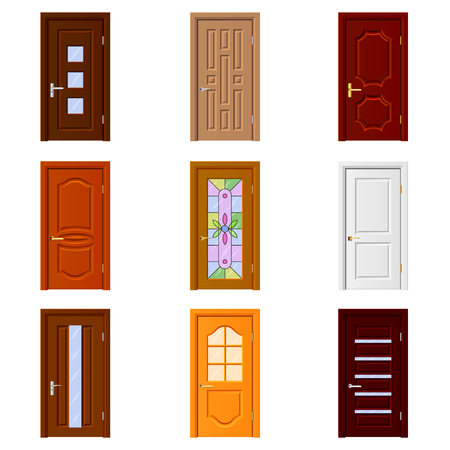 construction frame: Room doors icons detailed photo realistic vector set
