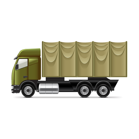 armored truck: Military truck isolated on white photo-realistic vector illustration