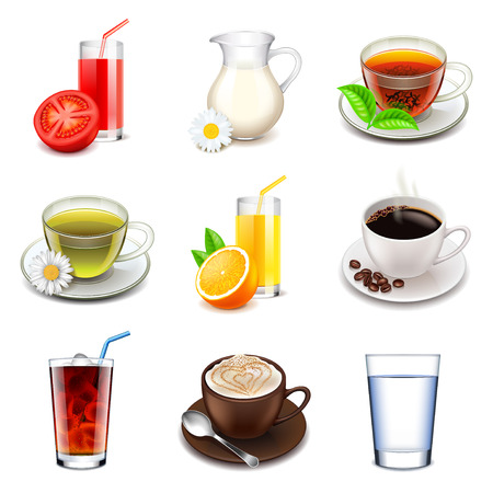 Non-alcoholic icons detailed photo realistic vector set Illustration