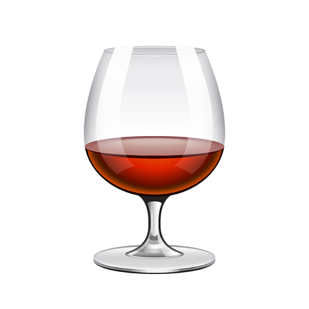 brandy: Brandy in glass isolated on white photo-realistic vector illustration Illustration
