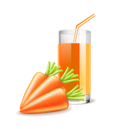 carrot juice: Carrot juice isolated on white photo-realistic vector illustration