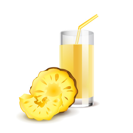 pineapple juice: Pineapple juice isolated on white photo-realistic vector illustration