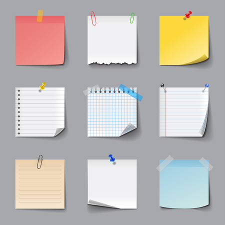 Post it notes icons detailed photo realistic vector set Vectores