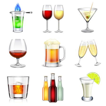 Icone alcoliche foto dettagliate realistici vettore set