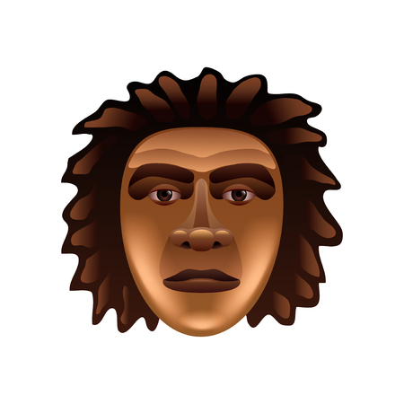 hombre prehistorico: la cara del hombre prehistórico aislado en blanco ilustración vectorial foto-realista Vectores
