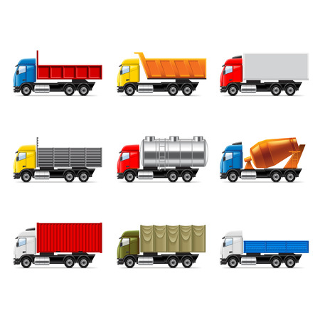 tow tractor: Trucks icons detailed photo realistic vector set