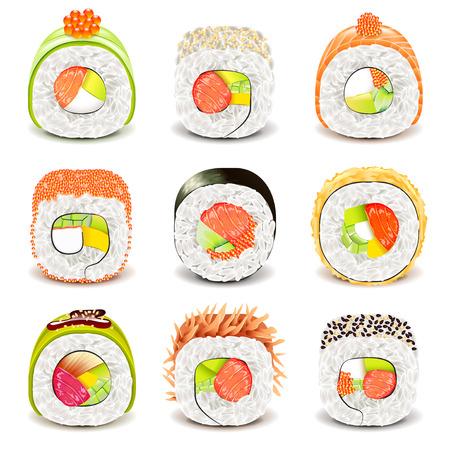 icônes de rouleau de sushi photo détaillée vecteur réaliste ensemble