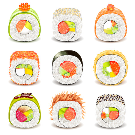 Sushi roll icons detailed photo realistic vector set